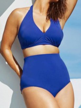 Plus Size Lace-Up Plain Tankini Set Sexy Women's Swimwear