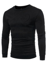 Multi-Color Pullover Plain Solid Patchwork Fall Men's T-Shirt