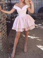 Short Off-The-Shoulder Ruched Sleeveless Homecoming Dress 2019