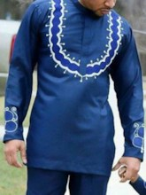 Stand Collar Color Block African Fashion Print Long Sleeve Men's T-shirt