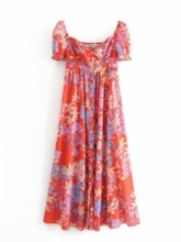 Print Short Sleeve Ankle-Length Floral Women's Maxi Dress