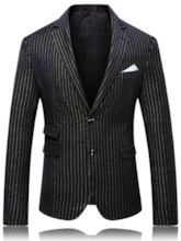 Notched Lapel Stripe Print Color Block Button Fashion Men's leisure Suit