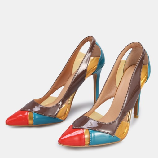 Pointed Toe Slip-On Stiletto Heel Color Block Chic Women's Pumps