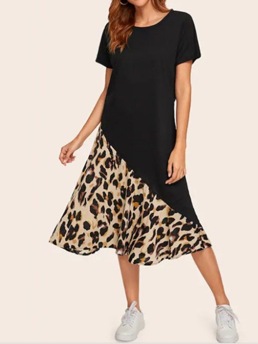 Print Round Neck Mid-Calf Short Sleeve Women's Day Dress