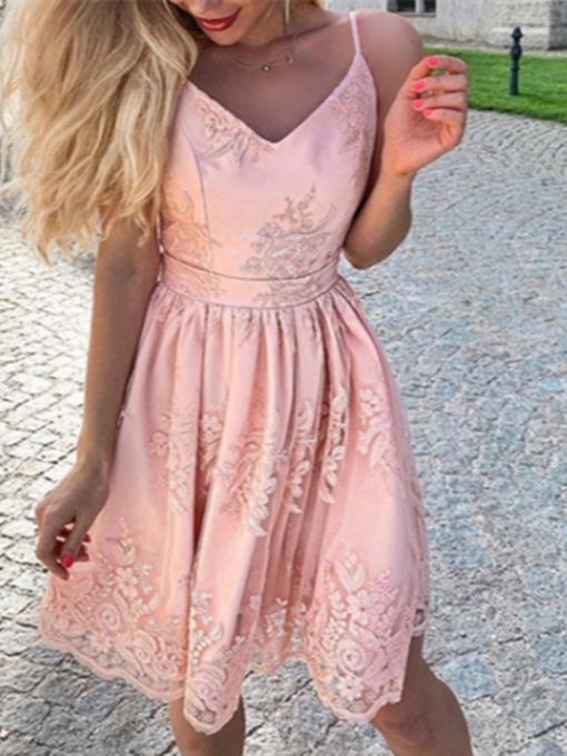 A-Line Sleeveless Appliques Spaghetti Straps Homecoming Dress 2019