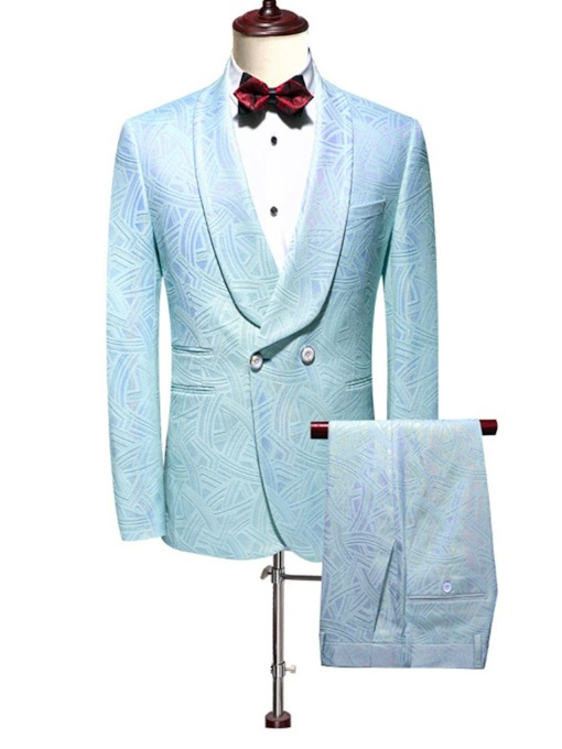 Cotton Blends Color Block Double-Breasted Pants Button Wedding Party Men's Dress Suit