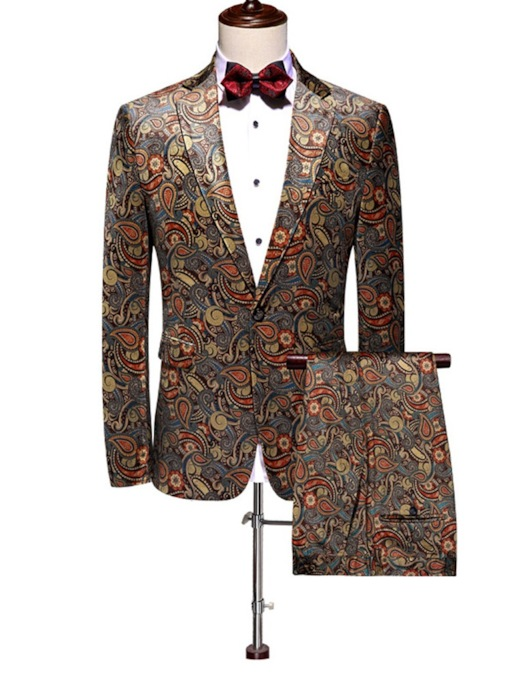 Fashion Floral Print 3-Piece Set One Button Print Color Block Men's Dress Suit