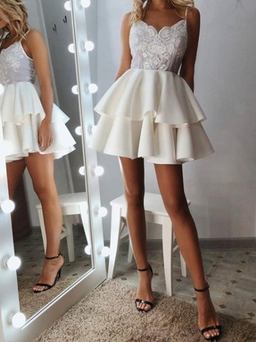 Appliques Short Sleeveless A-Line Homecoming Dress 2019