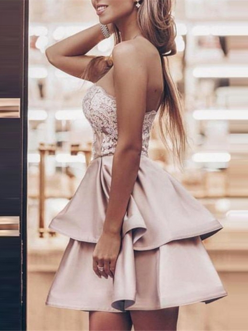A-Line Sleeveless Short Strapless Homecoming Dress 2019