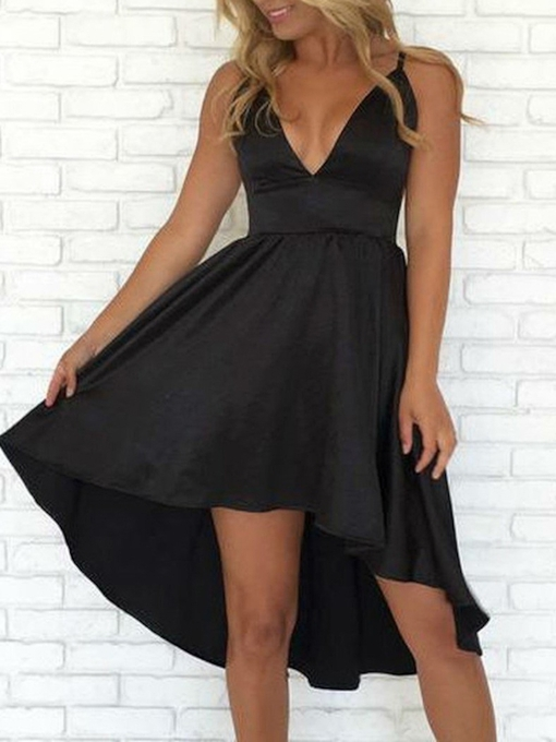 A-Line Sleeveless V-Neck Asymmetry Homecoming Dress 2019