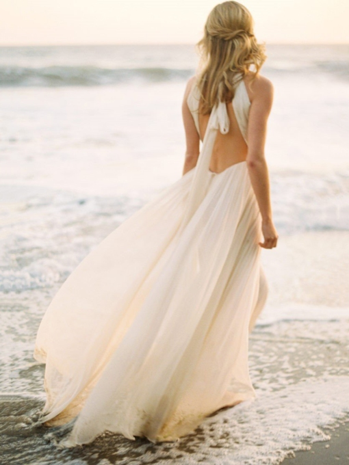 Halter Ruched Open Back Beach Wedding Dress 2019