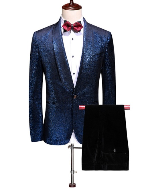 Cotton Blends Fashion Sequin Button Plain Pants Pockets Party Business Men's Dress Suit