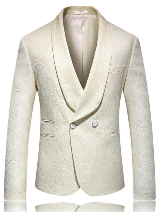 Plain Double-Breasted Fashion Elegant Wedding Party Slim Men's leisure Suit