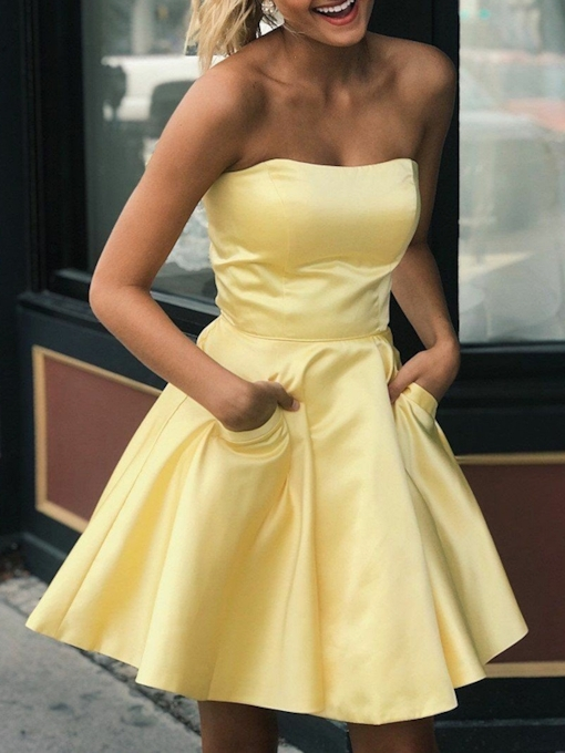A-Line Pockets Sleeveless Strapless Homecoming Dress 2019
