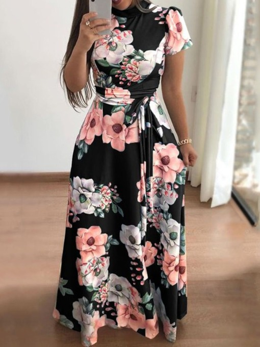 Stand Collar Print Short Sleeve Mid Waist Women's Maxi Dress