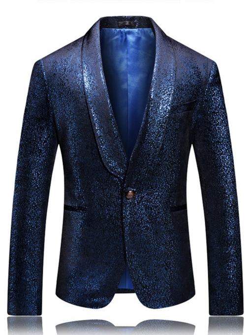 Fashion Sequin Print Pocket Notched Lapel Blazer Party Wedding Slim Men's leisure Suit