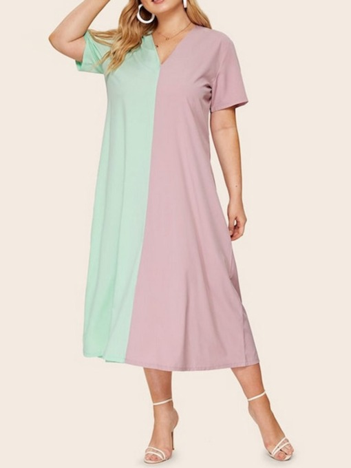 Plus Size Patchwork V-Neck Short Sleeve A-Line Women's Dress