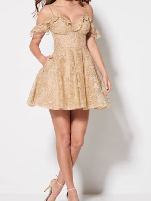 Short A-Line Short Sleeves Ruffles Homecoming Dress
