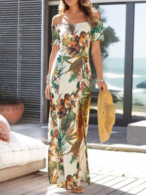 Off Shoulder Long Sleeve Print Sweet Women's Maxi Dress