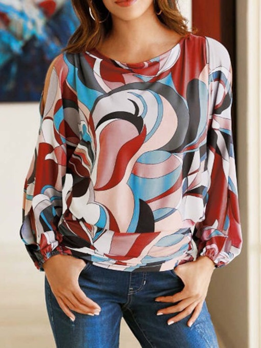 Lantern Sleeve Color Block Round Neck Patchwork Women's Blouse
