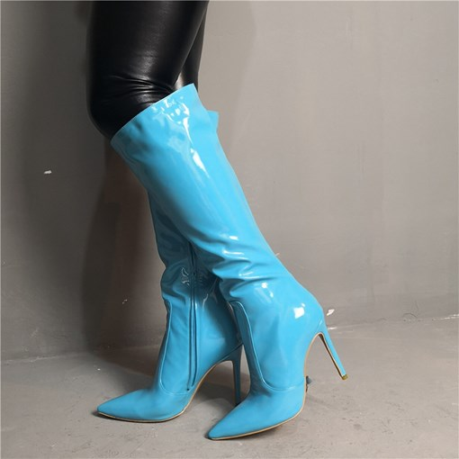 Customized Pointed Toe Side Zipper Knee High Boots