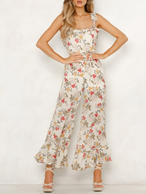 Sweet Floral Full Length Strap High Waist Women's Jumpsuit