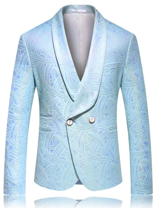 Fashion Embroidery Print Single-Breasted Notched Lapel Button Men's leisure Suit