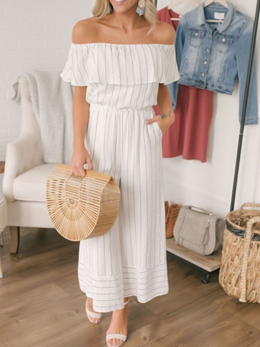 Fashion Ankle Length Stripe Mid Waist Women's Jumpsuit