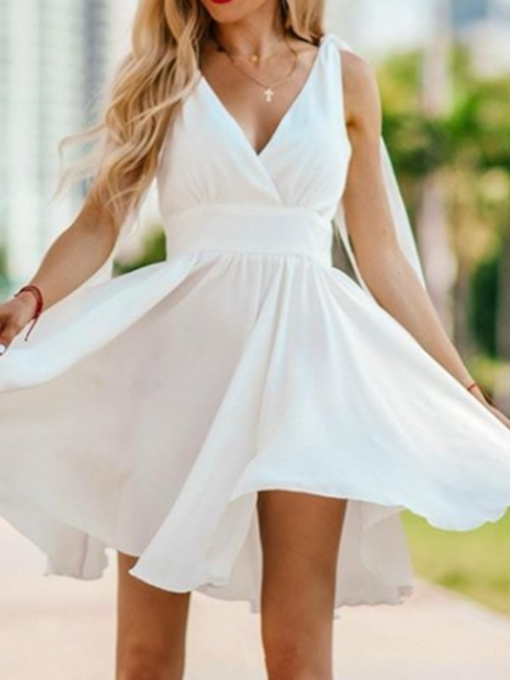 V-Neck Sleeveless Short A-Line Homecoming Dress