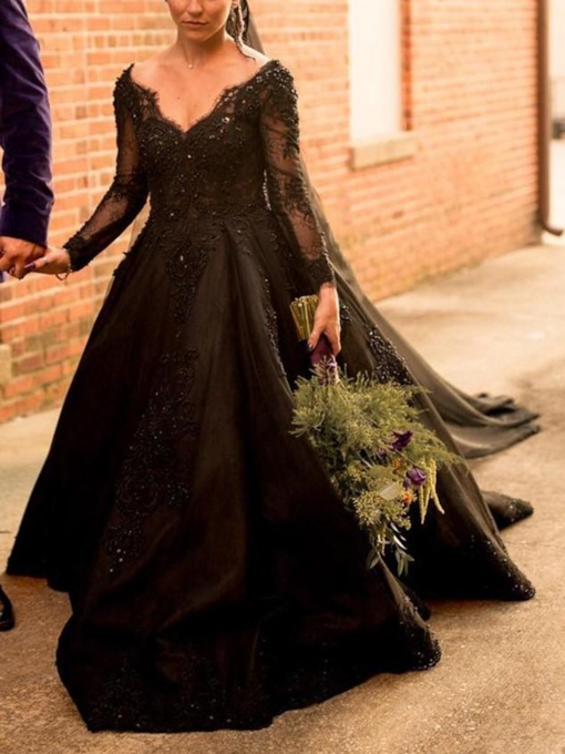 V-Neck Appliques Long Sleeves Black Wedding Dress 2019