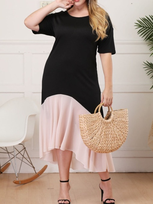 Plus Size Asymmetric Round Neck Short Sleeve Women's Dress