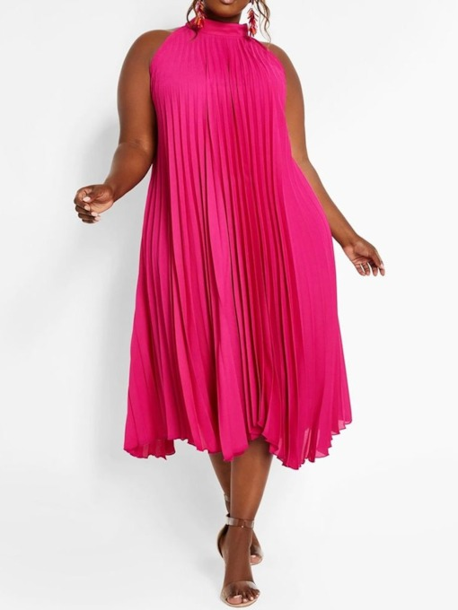 Plus Size Pleated Sleeveless Stand Collar Plain Women's Dress