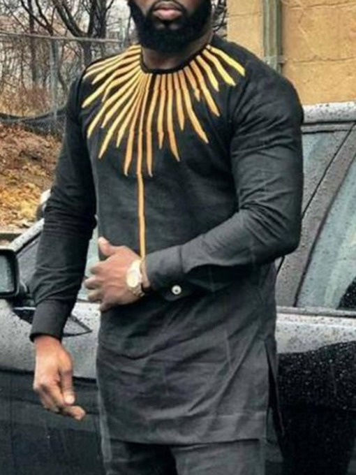 Color Block African Fashion Round Neck Print Slim Men's T-shirt