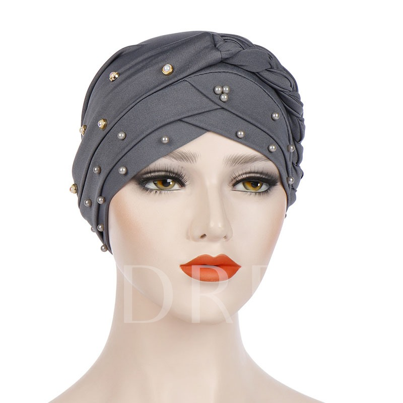 Pearl Bead Pure Color Ethnic Skullies & Beanies