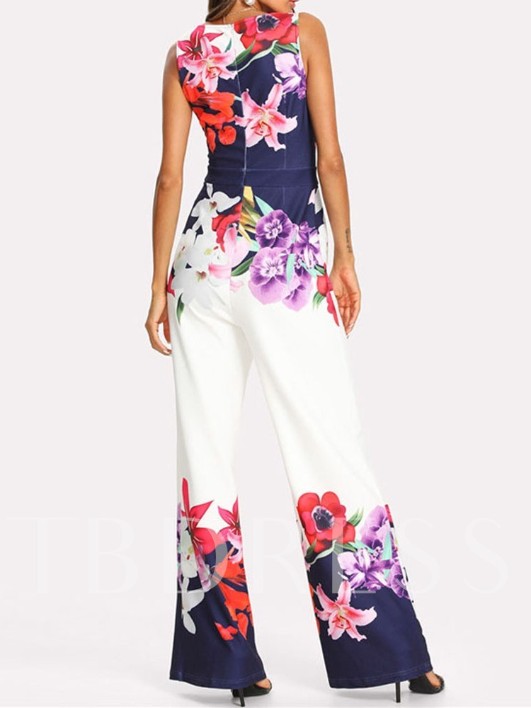 Full Length Western Floral Print Loose Women's Jumpsuit