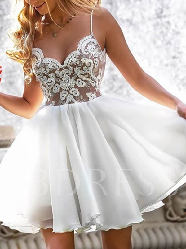 Spaghetti Straps A-Line Sleeveless Appliques Homecoming Dress 2019