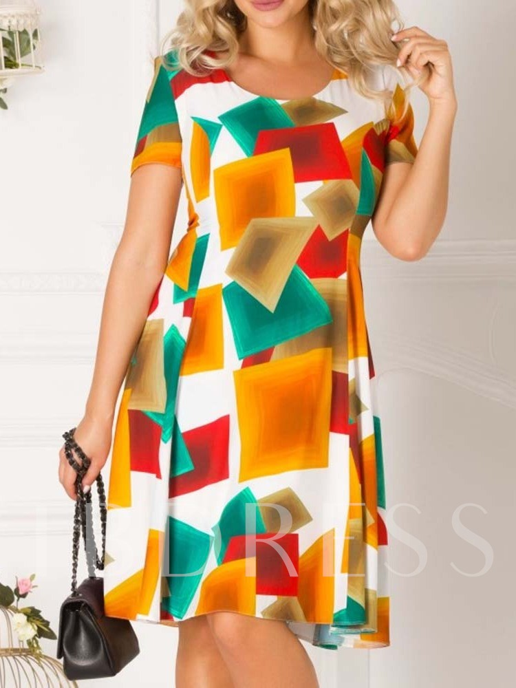 Short Sleeve Round Neck Patchwork Color Block Women's Day Dress