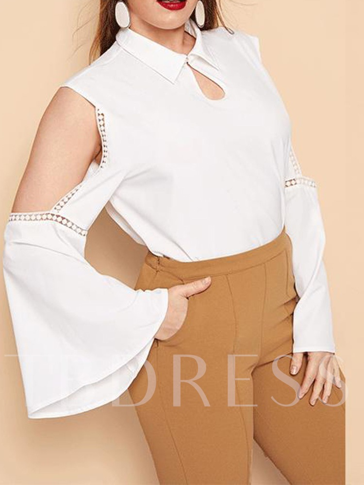 Flare Sleeve Lapel Plain Patchwork Long Sleeve Plus Size Women's Blouse