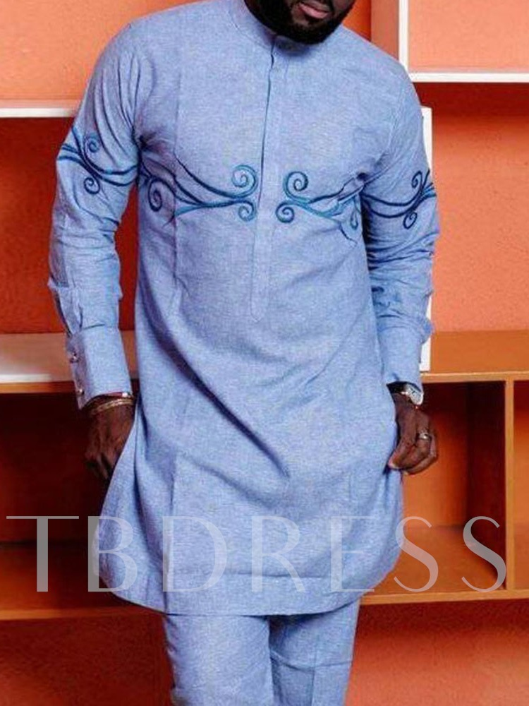 African Fashion Embroidery Stand Collar Color Block Slim Men's T-shirt