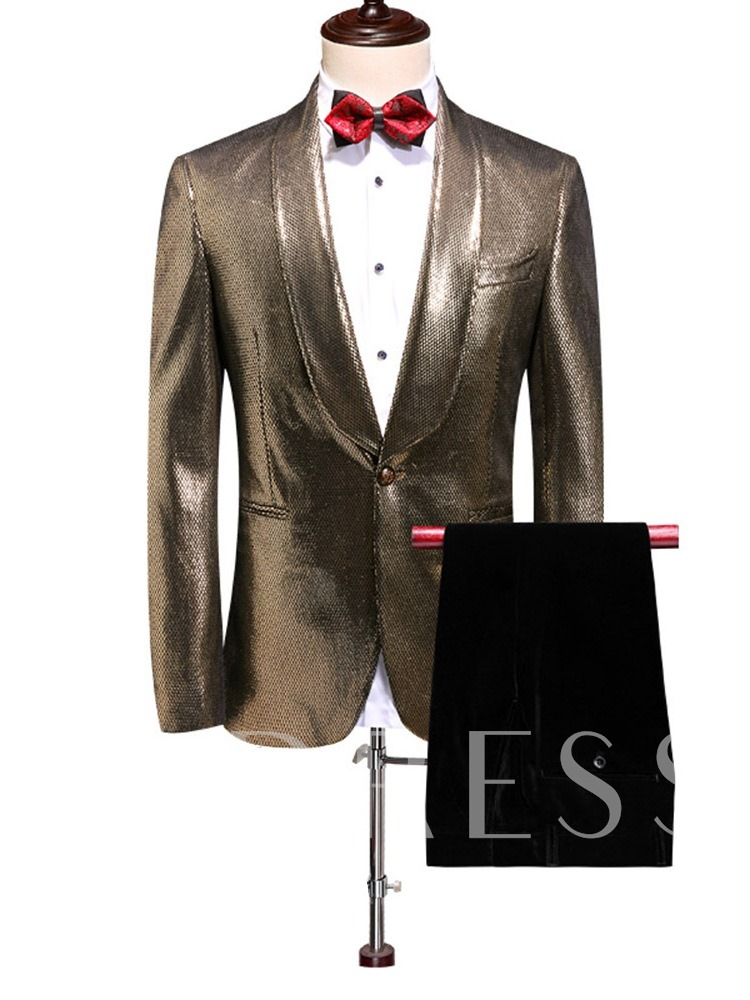 Fashion Casual Sequin Plain Blazer One Button Pockets Pants Men's Dress Suit