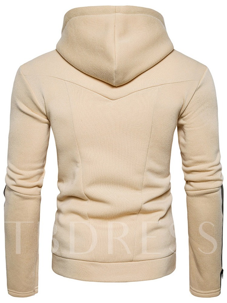 Fashion Zipper Leather Hooded Pullover Plain Hooded Cotton Blends Long Sleeves Men's Hoodies