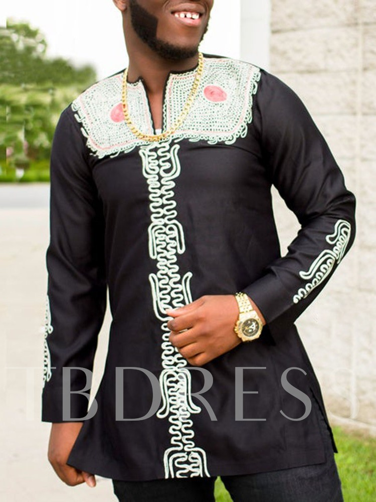 Print African Fashion Color Block Dashiki Design Inelastic Slim Long Sleeves Men's T-shirt