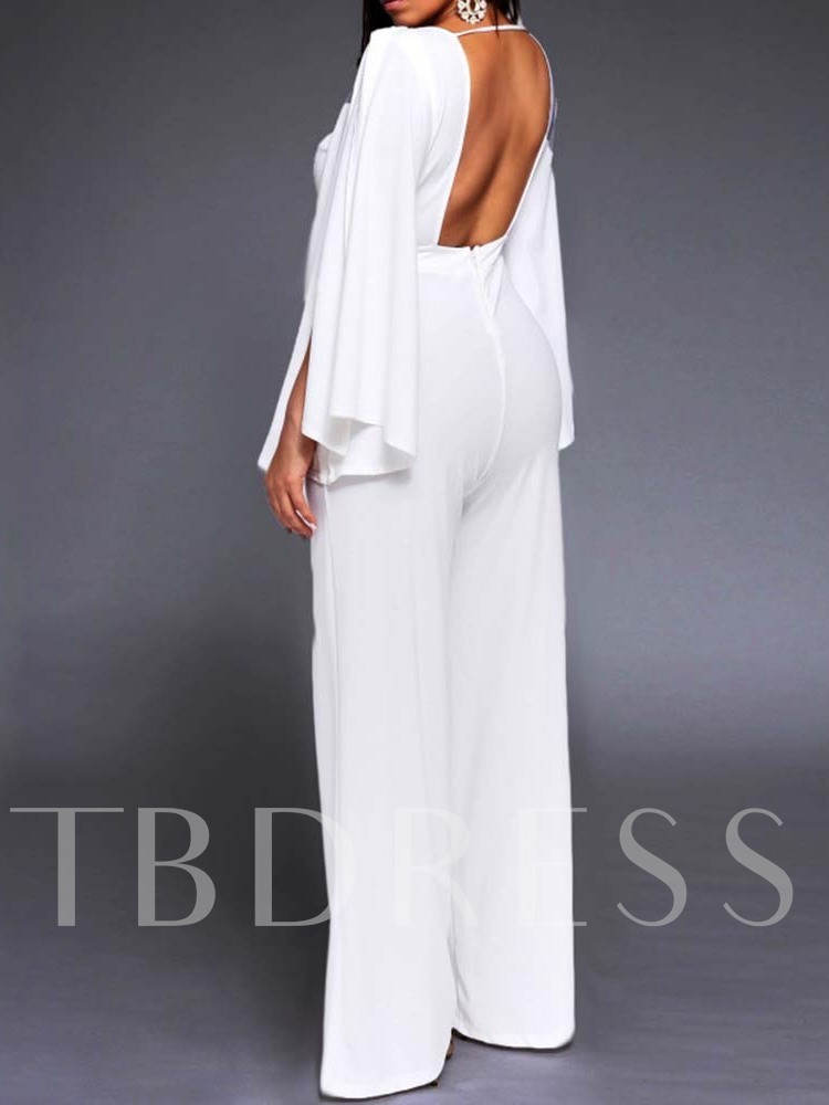 Plain Full Length Backless High Waist Women's Jumpsuit