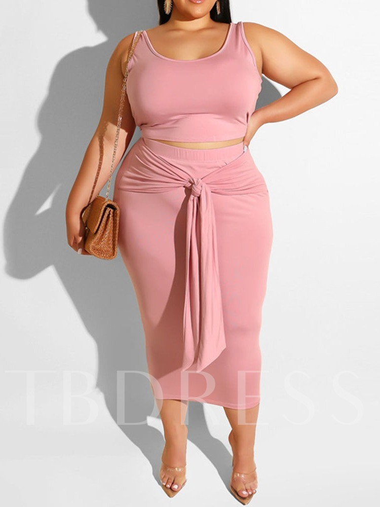 Plus Size Plain Western Skirt Lace-Up Pullover Women's Two Piece Sets