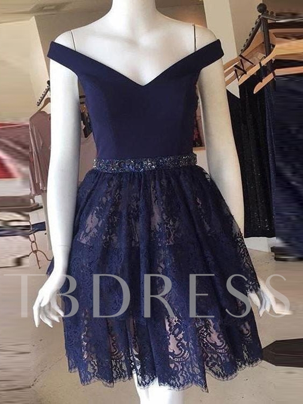 Off-The-Shoulder A-Line Knee-Length Lace Homecoming Dress 2019