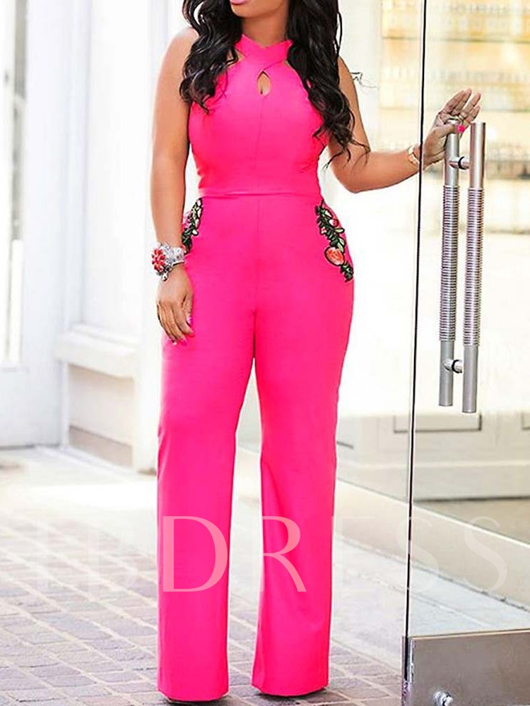 Plant Full Length Appliques High Waist Women's Jumpsuit