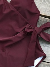 Plain One Piece Bowknot Sexy Women's Swimwear