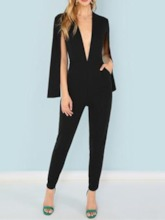 Wear to Work Split Plain Ankle Length High Waist Women's Jumpsuit