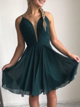 Pleats Sleeveless Knee-Length A-Line Homecoming Dress 2019