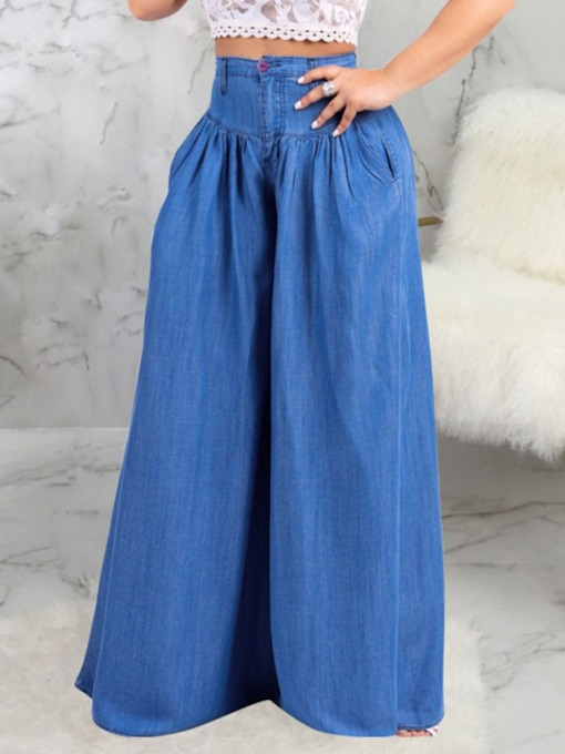 Wide Legs Plain Washable Loose Women's Jeans